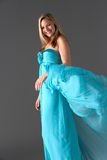 Studio Shot Of Woman In Blue Evening Dress Royalty Free Stock Photography