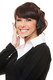 Studio shot of woman operator Stock Photo
