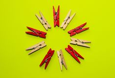 Studio Shot of a Wooden Peg.Colored Clothespegs. Stock Photo