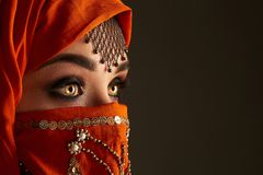 Studio shot of a young charming woman wearing the terracotta hijab decorated with sequins and jewelry. Arabic style. stock image