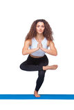 Studio shot of a young fit woman doing yoga Stock Images