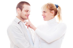 Studio shot of young man with girlfriend Stock Image