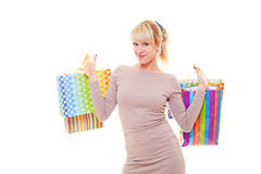 Studio shot of young shopper Royalty Free Stock Image