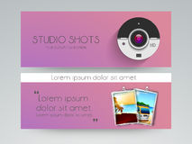 Studio shots web header design. Royalty Free Stock Photo