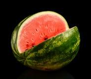 Studio skjuten hel vattenmelon med hålsvart Royaltyfria Foton