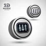 Studio sound equipment icon,  3d mixing console Royalty Free Stock Photos