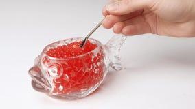 Studio sparato della mano femminile che prende caviale rosso con il cucchiaio dal barattolo di vetro nella forma di pesce stock footage