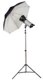 Studio strobe light flash with umbrella Stock Photography