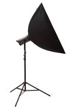 Studio strobe with softbox. Isolated on the white Royalty Free Stock Photo