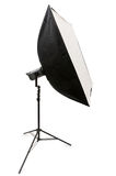 Studio strobe with softbox. Isolated on the white Stock Image
