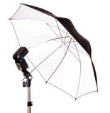 Studio strobe with umbrella isolated Royalty Free Stock Photography