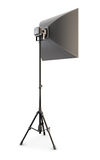 Studio strobe on white background. Studio softbox isolated. 3d. Stock Image