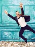Studio strzał mężczyzna jako retro tancerz Zdjęcia Stock