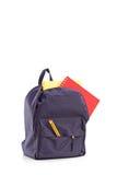 Studio strzał szkolny plecak z książkami fotografia royalty free