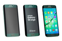 Studio strzał wszystko zielony Samsung galaktyki S6 krawędzi smartphone popiera kogoś Fotografia Royalty Free
