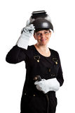 Studio strzelał żeński spawacz odizolowywający na bielu Fotografia Royalty Free