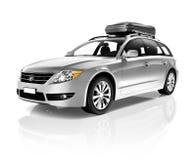 Studio Strzelał 3D Kruszcowego sedanu Rodzinny samochód zdjęcia stock