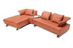 Studio strzelał luksusowa brown rzemienna kanapa Obrazy Stock
