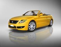 Studio Strzelający trójwymiarowy Żółty kabriolet Zdjęcia Royalty Free
