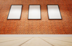 Studio and three picture on brick wall. 3d rendering Royalty Free Stock Photos