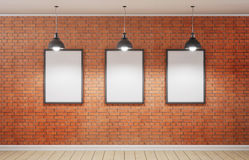 Studio and three picture on brick wall. 3d rendering. Studio and three picture on brick wall. 3d rendering Royalty Free Stock Photos