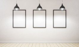 Studio and three picture. 3d rendering. Royalty Free Stock Images
