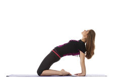 Studio tiré de la femme avec du charme faisant le yoga Photos stock