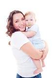 Studio tiré de la jeunes mère et fils Images stock