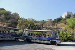 Studio Tour at Universal Studios Hollywood. Los Angeles, California, USA - October 10, 2014: Studio Tour Tram is taking tourists to visit the studios used in Royalty Free Stock Images