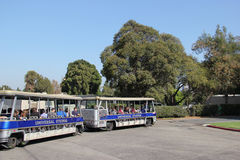 Studio Tour at Universal Studios Hollywood. Los Angeles, California, USA - October 10, 2014: Studio Tour Tram is taking tourists to visit the studios used in Royalty Free Stock Photo