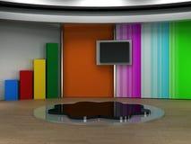 Studio tv virtual set. Studio background for tv chroma green Royalty Free Stock Images