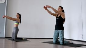 In the studio, two girls are engaged in pilates. Standing on their knees deviate back training the front of the thigh. And spreading their arms out to the sides stock footage