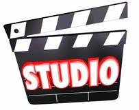 Studio Uttrycka Film Claper Stiga ombord Filma Produktion Företag Royaltyfri Foto