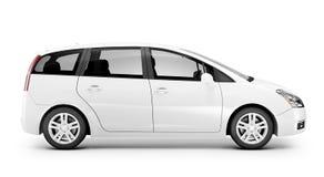 Studio van Driedimensionele Witte Sedan wordt geschoten die stock illustratie