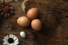 Studio van eieren op een uitstekende houten achtergrond wordt geschoten die Stock Foto's