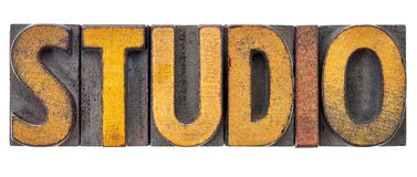 Studio word abstract in wood type Stock Photos