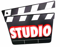 Studio Word Movie Claper Board Film Production Company Foto de archivo libre de regalías