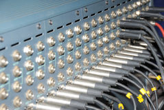 Studio xlr cables patch panel. Stock Photos