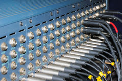 Studio xrl cables patch panel. Stock Images