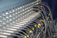 Studio xrl cables patch panel. Royalty Free Stock Images