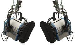 Studiobeleuchtungsstadiumsausrüstung lokalisiert über Weiß Stockfotos