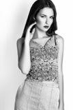 Studiofoto der jungen Frau auf weißem Hintergrund Rebecca 6 Stockbilder