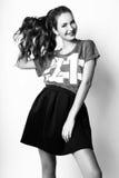 Studiofoto der jungen Frau auf weißem Hintergrund Rebecca 6 Lizenzfreie Stockfotos