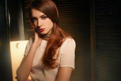 Studiofoto eines schönen Brunette mit Mischlicht Stockbilder