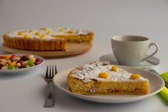 Studiofoto van Zwitserse Pasen-cake met groene en gele pastelkleuren royalty-vrije stock afbeeldingen