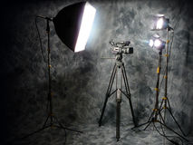 Studioleuchten und Digital-Videokamera Stockfotos
