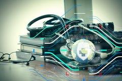 Studiomakro eines Stethoskops und der Beschaffenheitskugel mit digitalem Vorsprung Stockbild