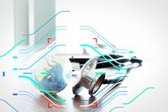 Studiomakro eines Stethoskops und der Beschaffenheitskugel mit flachem DOF Lizenzfreie Stockfotos