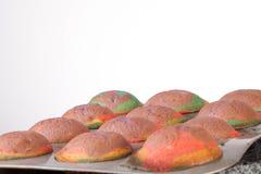 Studion sköt av home gjorda regnbågemuffiner i ten Arkivbild