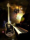 Studiopiano en gitaar Stock Afbeelding